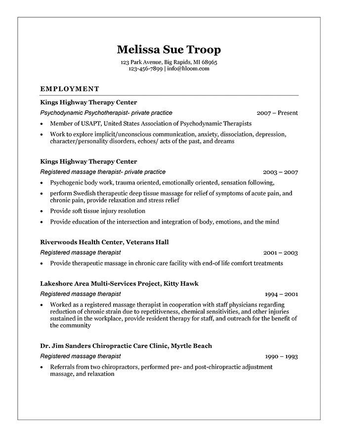 Get The Most Out Of Your Massage Therapist Resume Templates Resume Examples Resume Template Job Resume Examples
