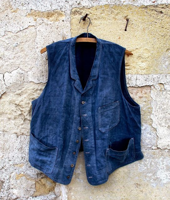 The Vintage Catalogue: EARLY 20th CENTURY FRENCH INDIGO LINEN WORK VEST -...