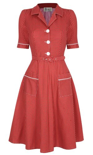 Utility Dress- Red 1950s.   Love the pockets and matching trim on the sleeves!