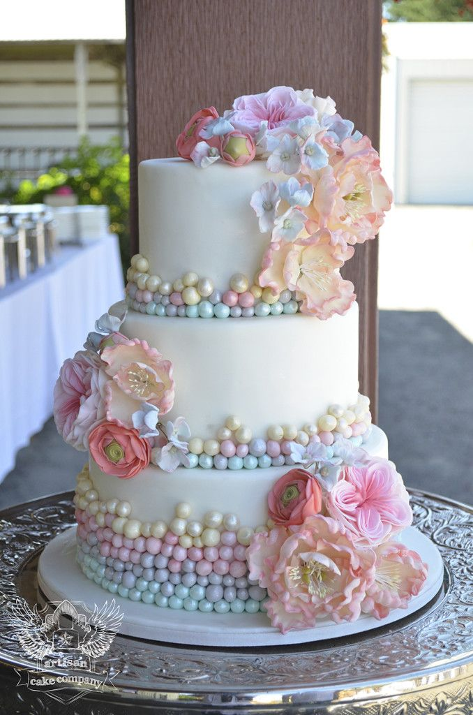 Wedding Cake with Colorful Flowers