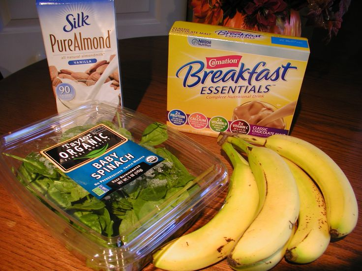 2 bananas, handful of spinach, 2 cups of almond milk and a packet of Carnation instant breakfast- blend and you have breakfast!