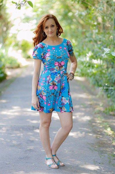 Vestido Floral Azul Adulto