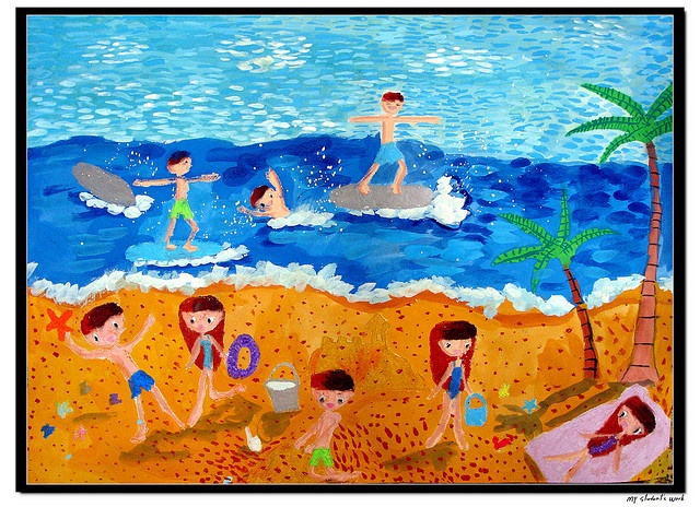The Beach - 1st grader, 7 years old, girl.  Poster colors + oil pastels on drawing paper.