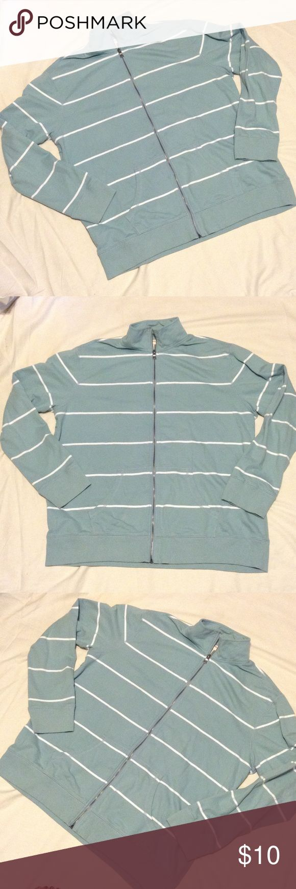 Merona men's zip up Mint condition. Blue and white striped zip up with pockets Merona Sweaters Zip Up