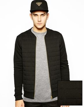 ASOS Bomber With Check Quilted Front Panel
