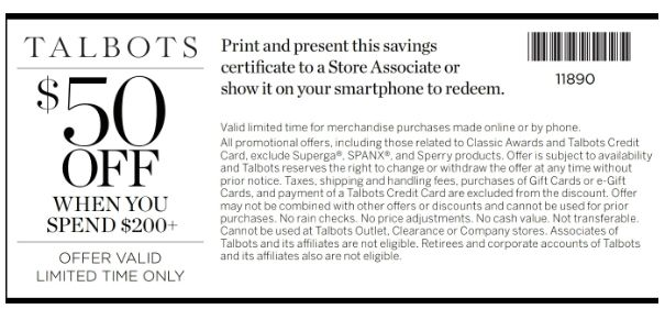 Talbots Coupon Codes 50 Off Promo Code 2019 Coupons Coupons Printable Coupons Promo Codes