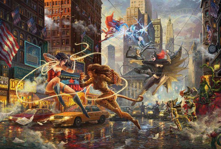The Women of DC - Thomas Kinkade Studios - DC Comics - World-Wide-Art.com - #dccomics #wonderwoman #batgirl #supergirl #poisonivy #catwoman #harleyquinn