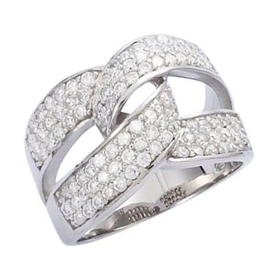 So Chic Jewels - Sterling Silver Clear Cubic Zirconia Luxury Cross Over Band Ring