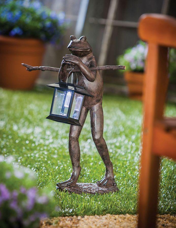 Frog solar lantern outdoor decoration garden deck patio for Garden decking ornaments