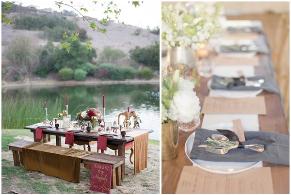 Marsala and grey wedding decor