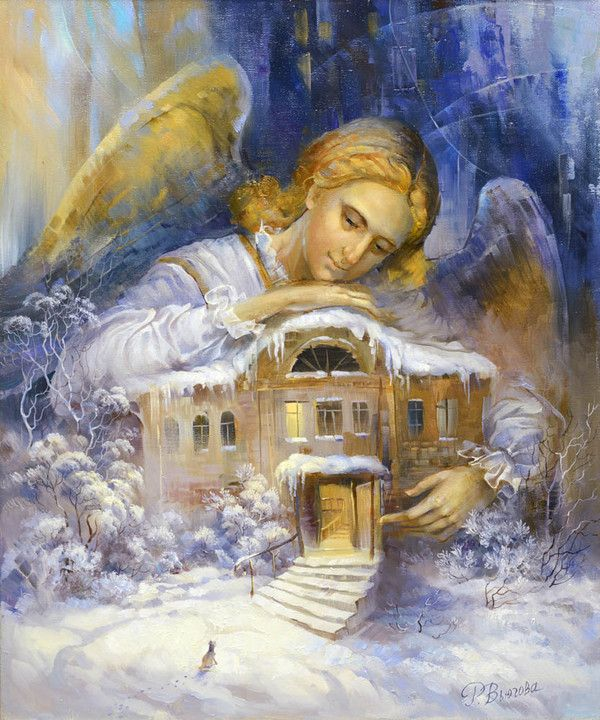 Rima Vjugovey.  artist Angel and Snow Snowy House