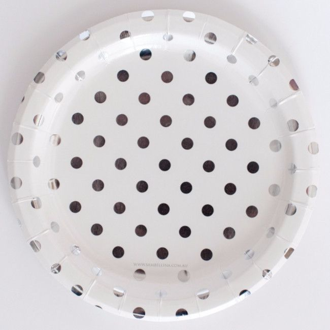 Gorgeous white with silver dots paper plates!  From Sambellina, these paper plates are premium quality with a silver foil embossed dots and a beautiful gloss finish.  Sambellina brings you the best in simple, stylish party ware and stationery that makes it easy to create a very special (and stylish) celebration!  Shop Party Plates Online | Sambellina Designer Party Supplies | Sambellina Party Plates - White with Silver Dots