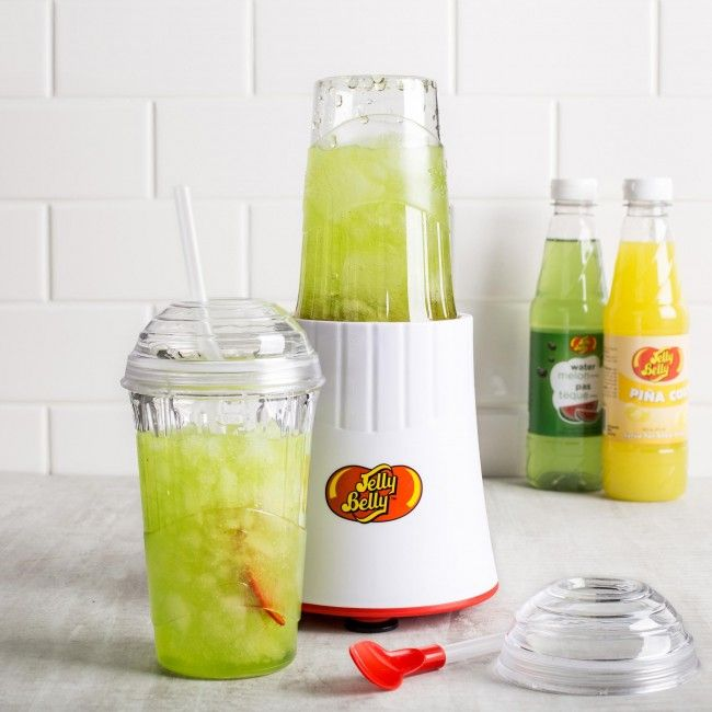 Make delicious slushies at home in less than a minute using the West Bend Jelly Belly Slushie Express. With a 200 watt motor, the dual purpose blending container also becomes a slushie cup.