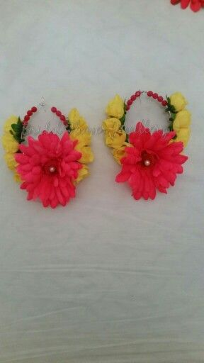 Pink gerbera and yellow rose silk artificial earrings by bridal flower jewellery www.bridalflowerjewellery.weebly.com