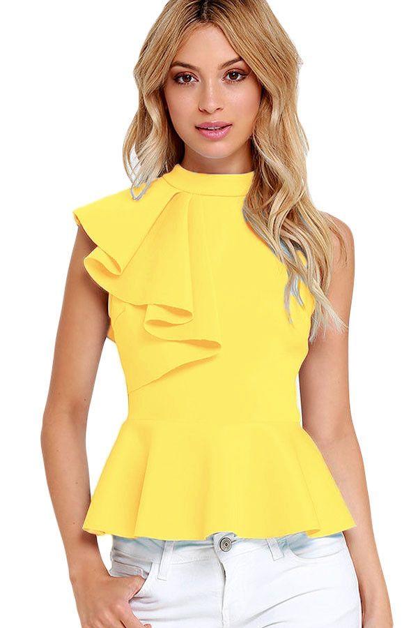 Fashion Summer Women Clubwear Turtleneck Asymmetric Ruffle Side Sleeveless Peplum Top Feminino Camiseta Mujer