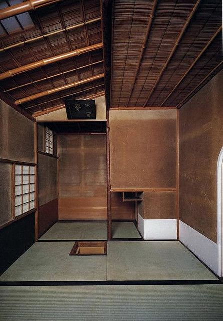 The perfection of a small, old Japanese room  with earthen plaster walls, a highly refined craft in Japan.