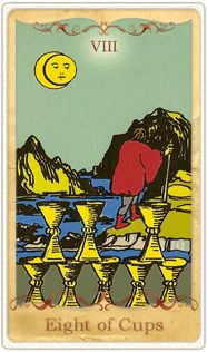 The 8 of Cups Tarot Card based on Rider-Waite~Time of change & letting go