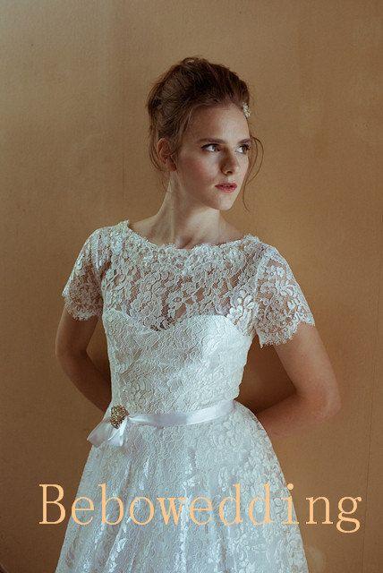 Lace short sleeves bateau neckline short wedding by bebowedding 239