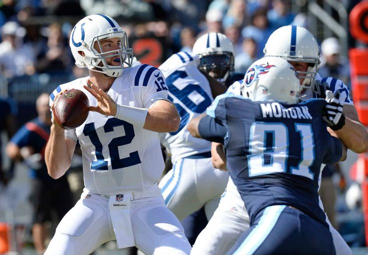 Colts vs. Titans  -  26-34, Colts:  October 23, 2016  -      Indianapolis Colts quarterback Andrew Luck (12) passes as offensive tackle Joe Reitz, right, blocks Tennessee Titans outside linebacker Derrick Morgan (91) in the first half of an NFL football game Sunday, Oct. 23, 2016, in Nashville, Tenn.