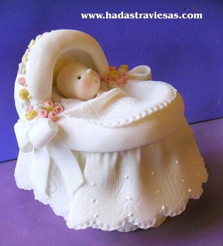 Porcelana fría - Cold porcelain - Baby Shower cake topper