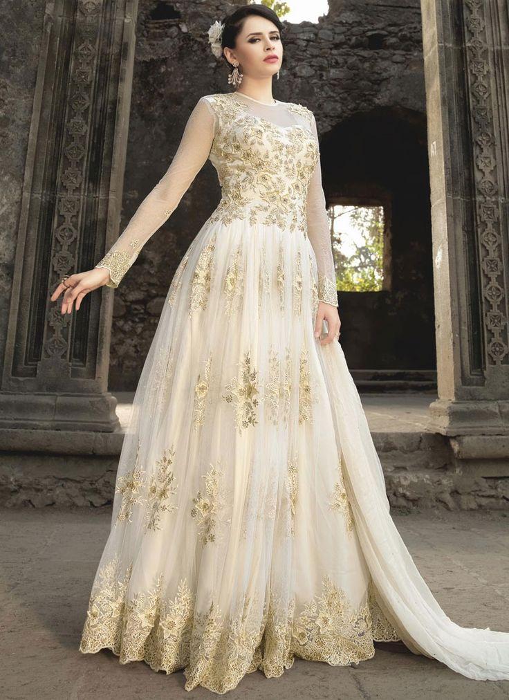 Beauteous White Resham Work Net Floor Length Anarkali Suit