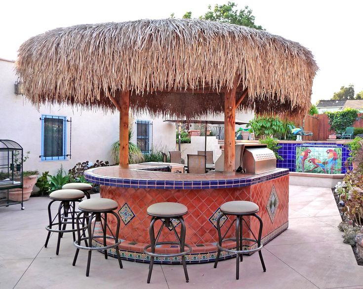 Backyard palapa style island barbeque using Mexican tiles ... on Palapa Bar Backyard id=43525