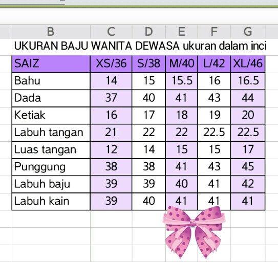 Ukuran baju wanita dewasa