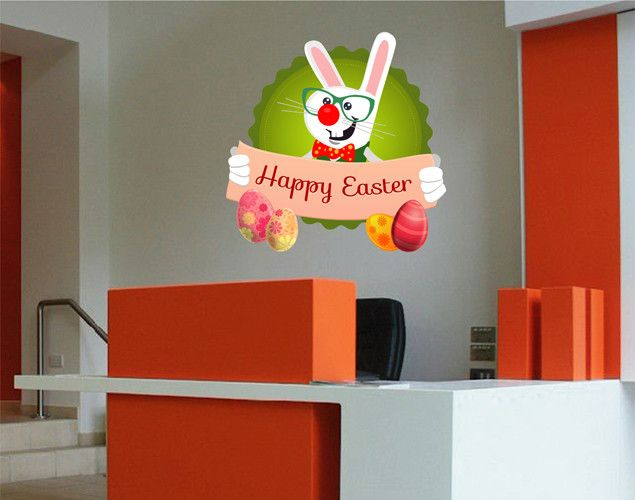 cik1621 Full Color Wall decal Bunny Happy Easter greetings Store stained glass window