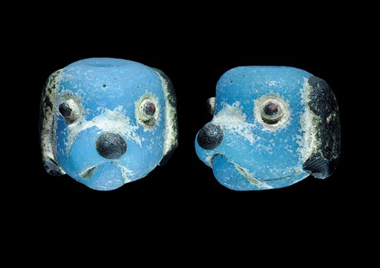 Ancient & Medieval History Egyptian/Phoenician Glass Dog Head Bead, 6th-4th Century BC  Adorable.