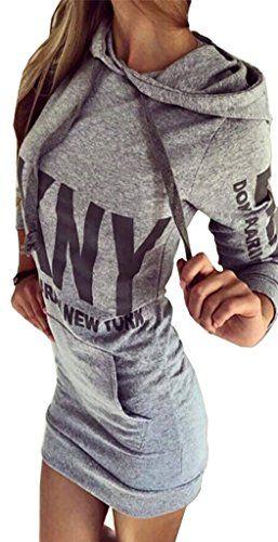 Robe Capuche Shirt À Femme Pull Mini Bigood Sweat Manche Imprimé SqXWpvPw