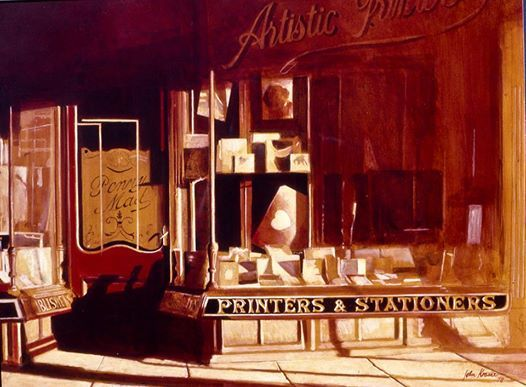 Photo: Grocotts, Printers and Stationers, Grahamstown Acrylic on board, 1978