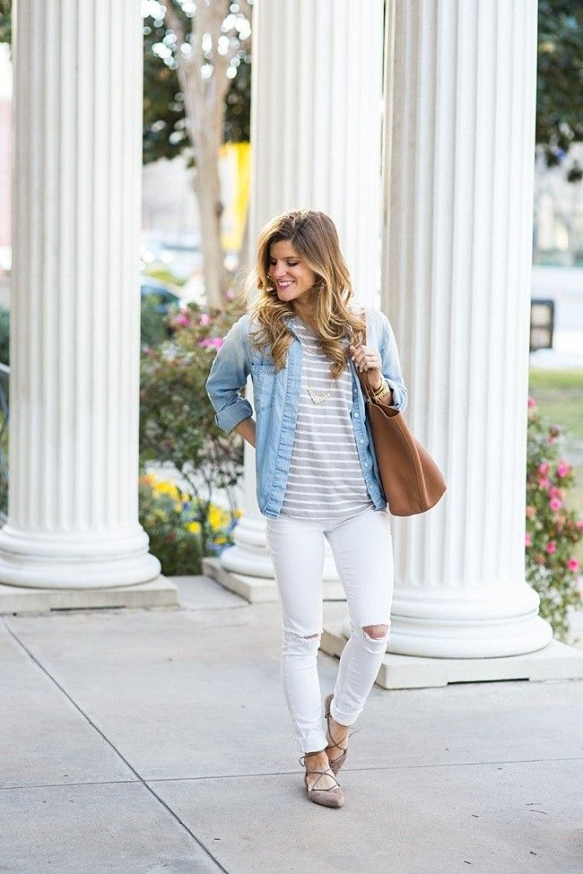 @brightonkeller // BrightonTheDay Blog // Denim Shirt // White Jeans // Striped Shirt Outfit // white jeans outfit // spring outfit // layering shirts outfit // outfit with flats // casual outfit // chambray shirt