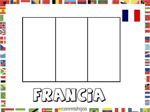 Bandera de Francia. Dibujos de banderas para pintar