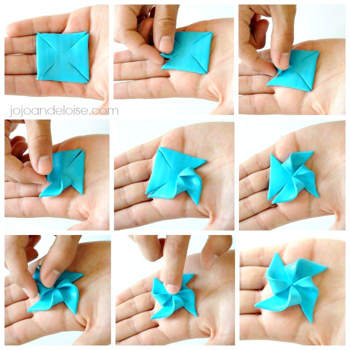 Easy+Polymer+Clay+Charms | Begin taking your TIPS of the corners and fold them into the CENTER of ...