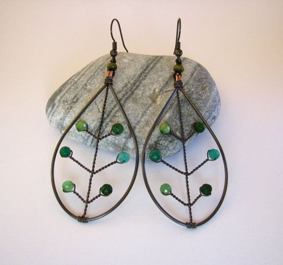 Oxidized copper wiring dangle leaf earrings by NicenessForYou