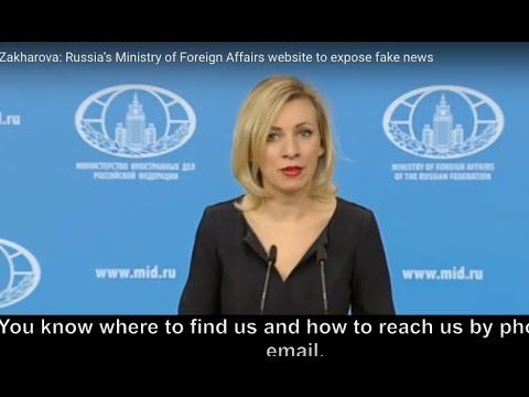 Zakharova: Russia's Ministry of Foreign Affairs website to expose fake news - YouTube