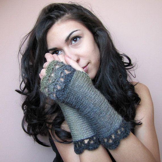 Midnight Forest - Elegant Crochet Fingerless Gloves in greens