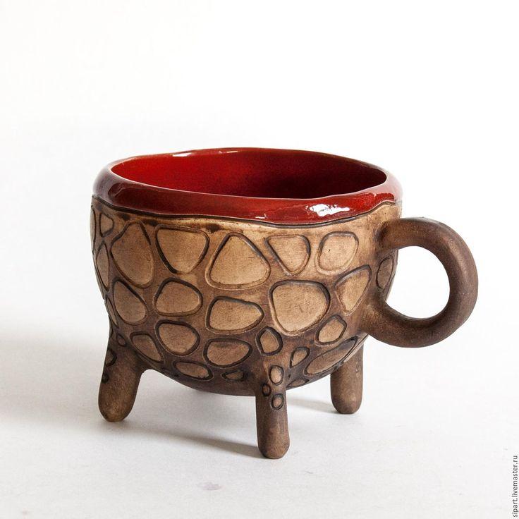 """Купить Чашка """"Камелот"""" - ярко-красный, керамическая посуда, керамическая чашка, чашка ручной работы"""