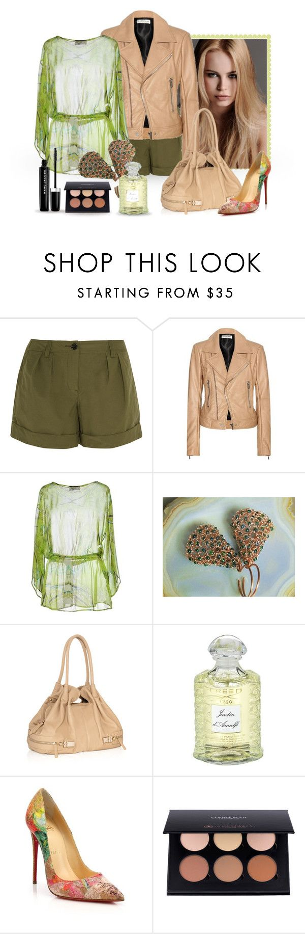 """Beige & Green"" by styledonna on Polyvore featuring moda, KAROLINA, Burberry, Balenciaga, Clips, JustFab, Creed, Christian Louboutin i Marc Jacobs"