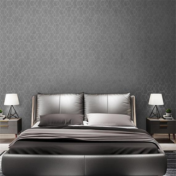 Geometric Wallpaper Roll Dark Grey Wall Paper Bedroom Living Etsy Grey Wallpaper Bedroom Luxury Geometric Wallpaper Grey Walls Dark grey wallpaper bedroom