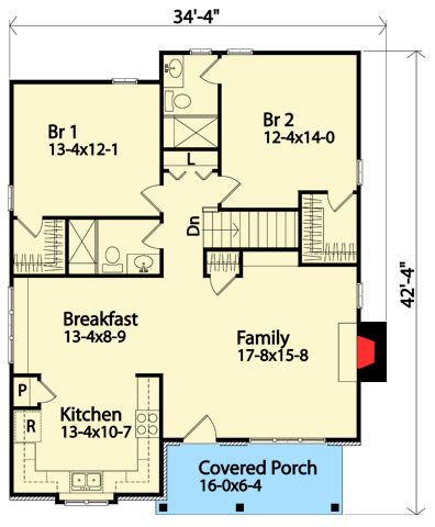 Plan 22123SL: Cozy Two Bedroom Cottage