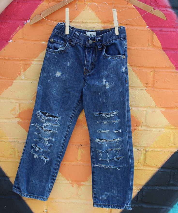 Distressed Jeans 4T Toddler Jeans Distressed Denim Trendy Kids Clothes Ripped Jeans Punk Rock Kids Baby Jeans Toddler Boy Jeans Toddler Swag by RunnergirlCreations on Etsy