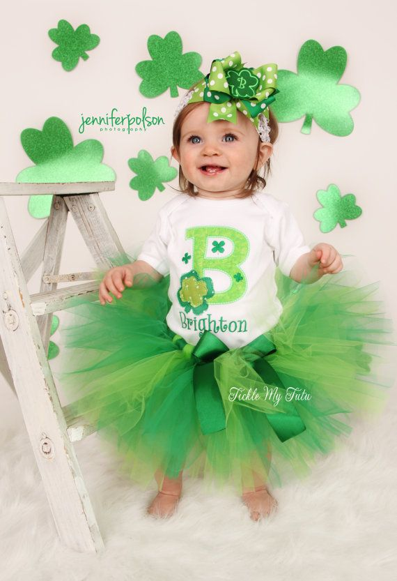 Shamrock Initial St. Patrick's Day Tutu Outfit Any by TickleMyTutu, $54.95