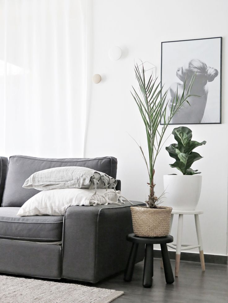 White Scandi Living Room With Grey Sofa