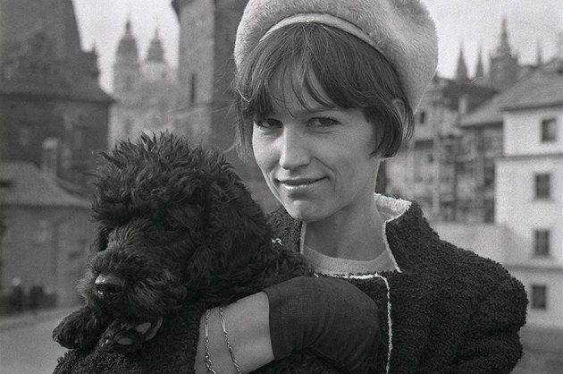 JOVAN DEZORT (*1934) Marta Kubišová (czech anticomunism velvet revolution singer, dog lover and rescuer) with dog