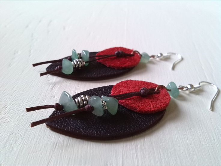 Handmade leather earrings, Genuine leather, Tibetan silver, Green amazonite, Wax thread by BeautifulStaff on Etsy