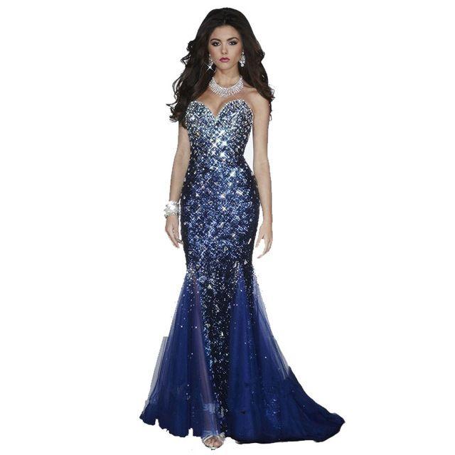 Dazzling Querida Decote Mangas Frisado Totalmente Lantejoulas azul Marinho Sereia vestidos de baile 2016 Pageant Vestidos Até O Chão