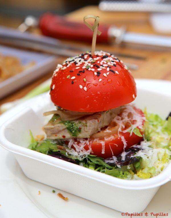 Tomate façon hamburger au thon mariné