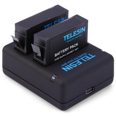 TELESIN Dual Slot Battery Charger Set TELESIN dual slot battery charger with 2pcs 1010mAh battery for GoPro Hero 4Dual slot charger, can charging two batteries at the same timeCharger: 5V / 2A input, 4.35V / 800mA x 2 outputSmart LED indicator showing charging statusAutomatic constant current control, preventing overcharging, short circuit, and electronic shockCompatible with …