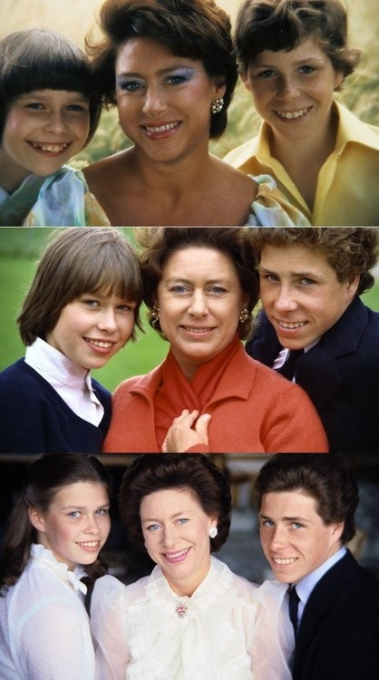 Carolathhabsburg:  Collage of Princess Margaret, Countess of Snowdon, with her children Lady Sarah Armstrong-Jones (Chatto), and David, Viscount Linley